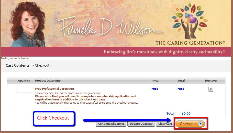 Professional Membership Cart Contents