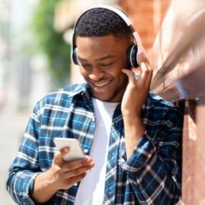 man listening to caregiver podcast